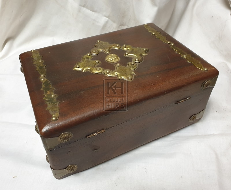 Small wood chest with gold top