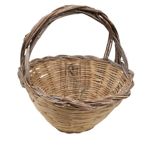 Cane woven hand basket