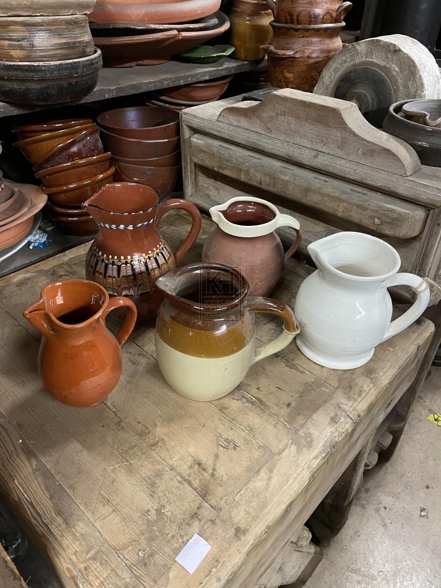 Assorted Glazed Pottery Jugs