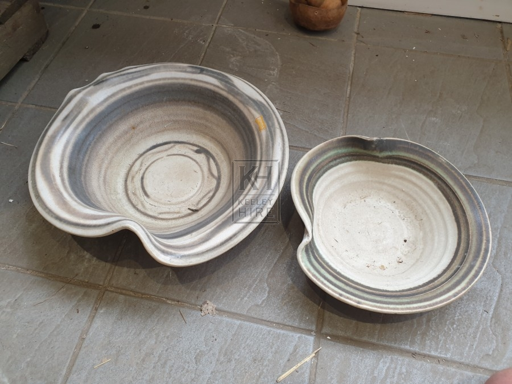 Large shaped ceramic bowl