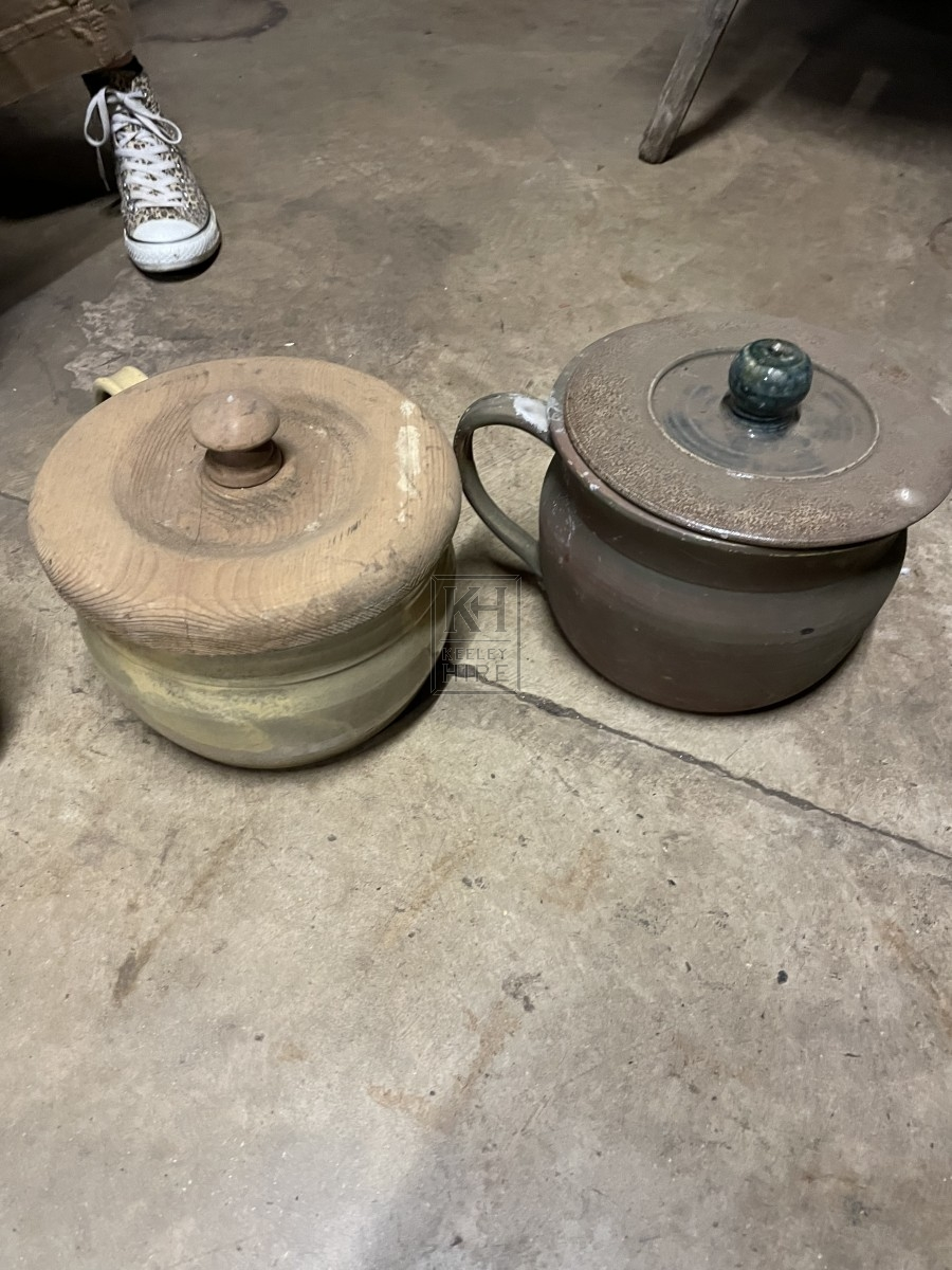 Assorted Earthenware Pot With Lid