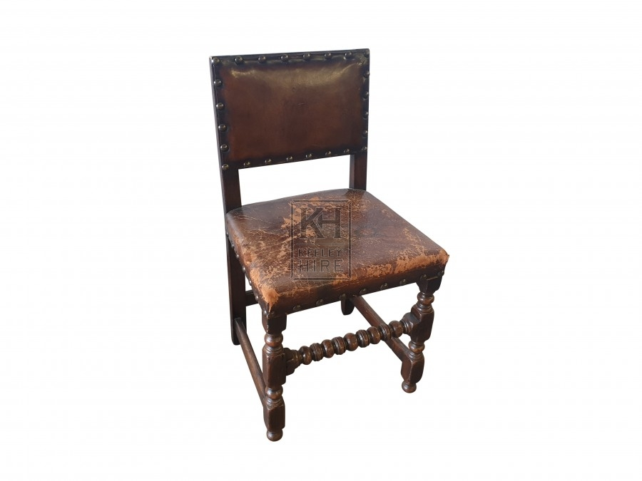 Dark leather studded chair