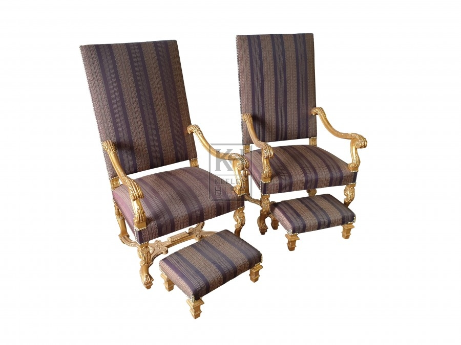 Louis XIV Style carved giltwood chairs