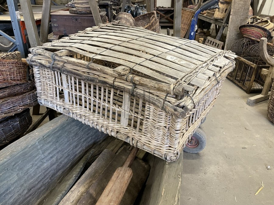 Large Wicker Cage with Slatted Top