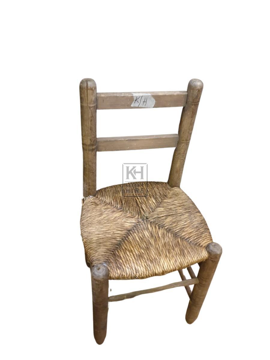 Plain wood straw seat chair