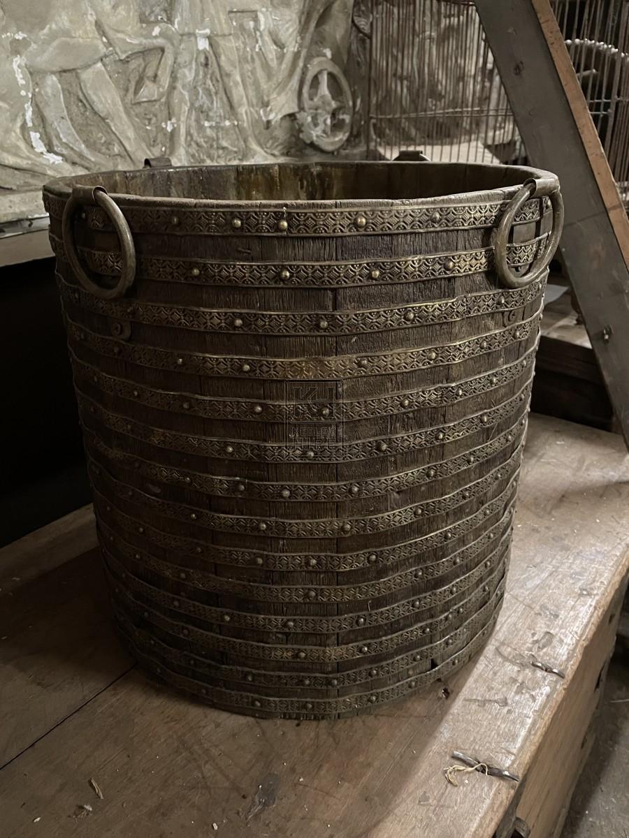 Ornate Wood & Metal Banded Bucket