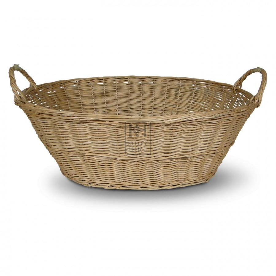 Baskets Prop Hire » Oval wicker wash basket with 2 handles - Keeley Hire