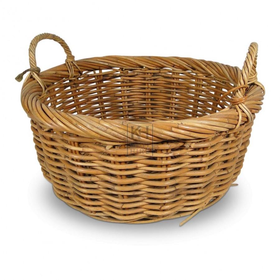 Round Wicker Baskets With Handles : Baskets prop hire ? round wicker basket with handles
