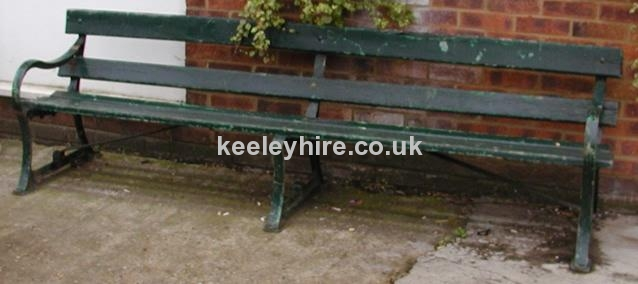 Green painted wood & iron park bench