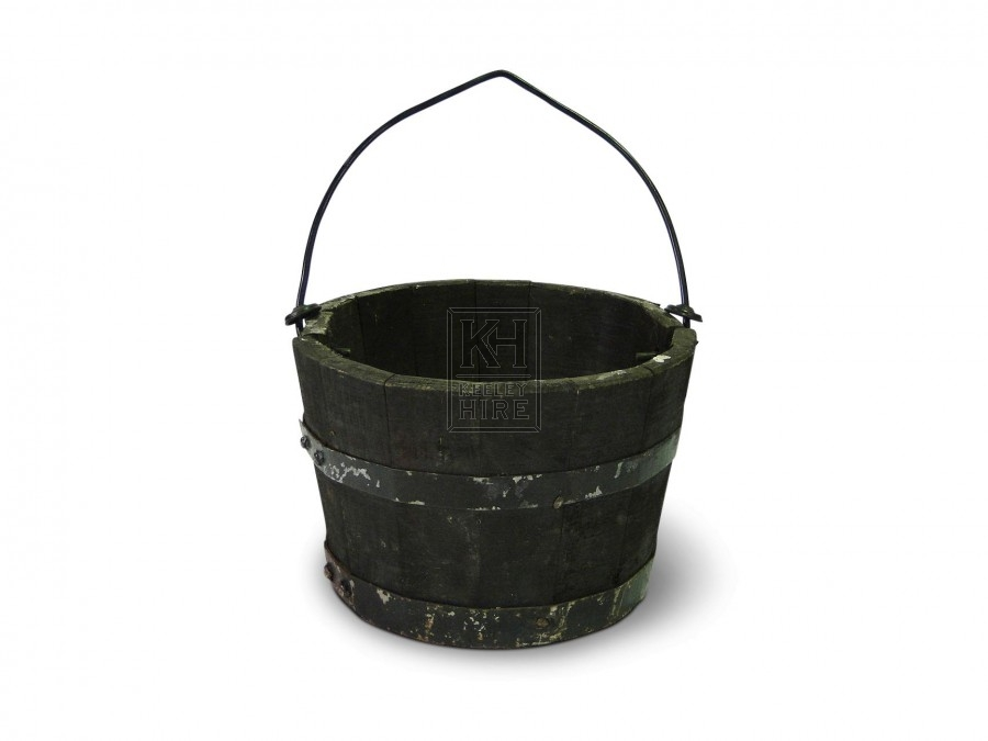 Iron Bound Bucket with Wire Handle