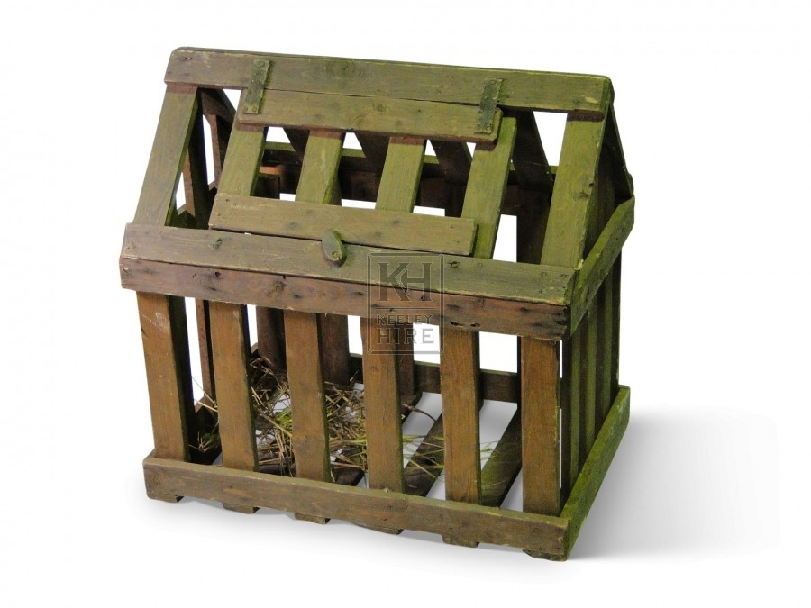 Slatted Wood Cage with pitched top