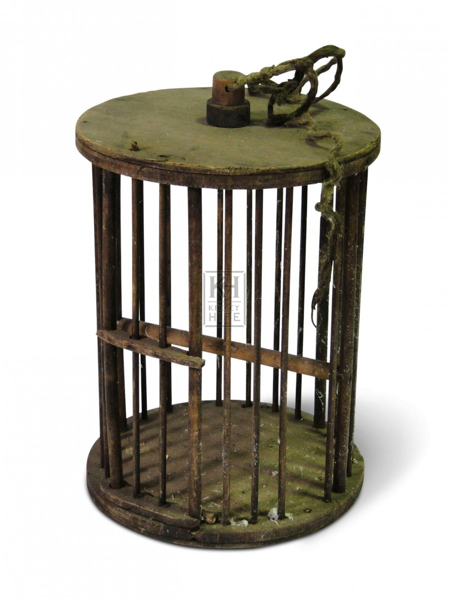 Cylindrical Wooden Birdcage