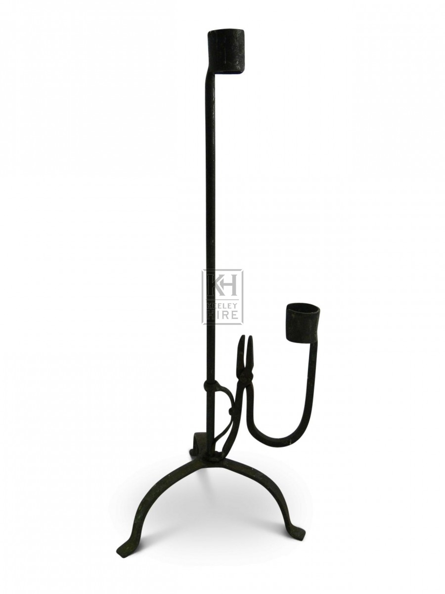 2 Point Iron Candleholder with Grip