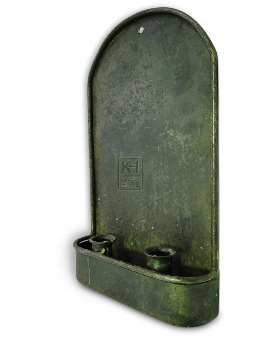 Flat Plate Double Iron Wall Candleholder