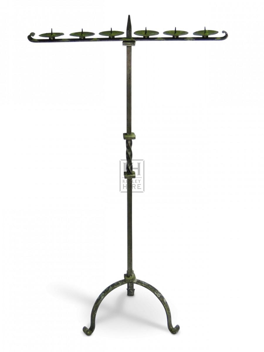 Floorstanding Iron T - Shape Candelabra