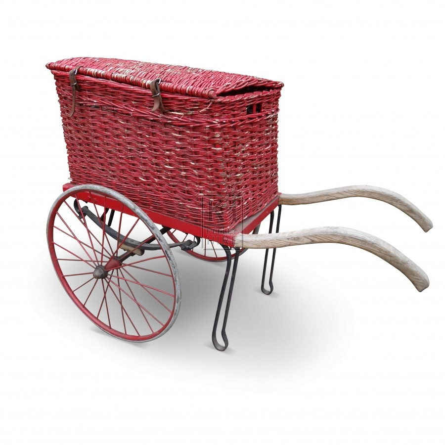 Red Wicker Postal Cart