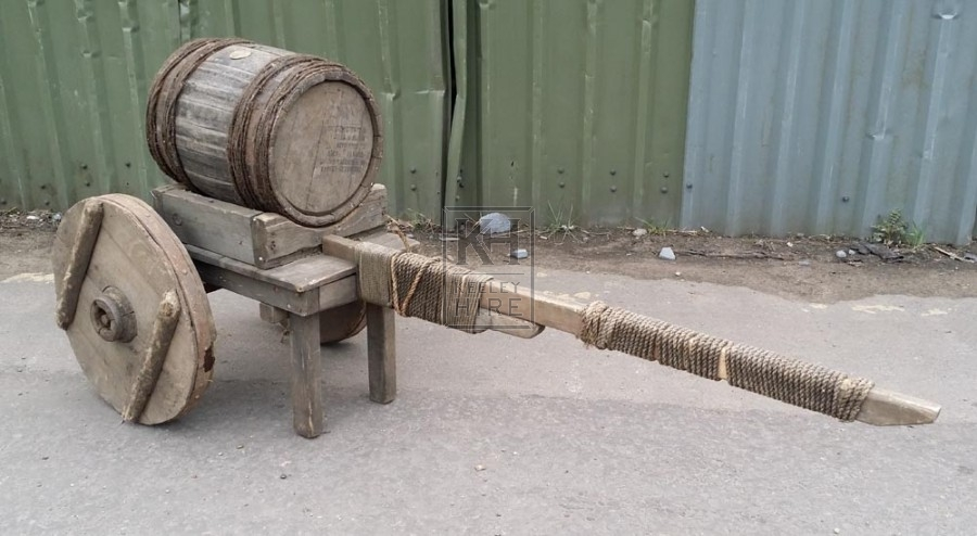 Small Hand Cart with Barrel