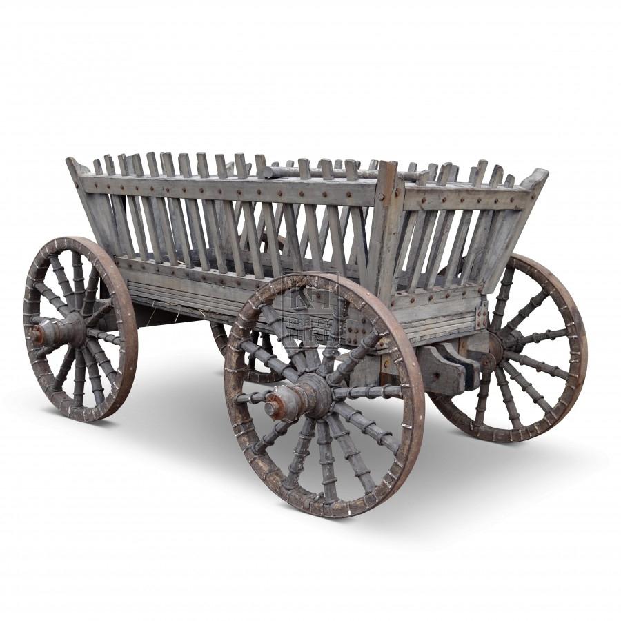 Large slatted 4-wheel horse cart