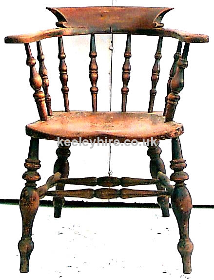 Round spindle back arm chair