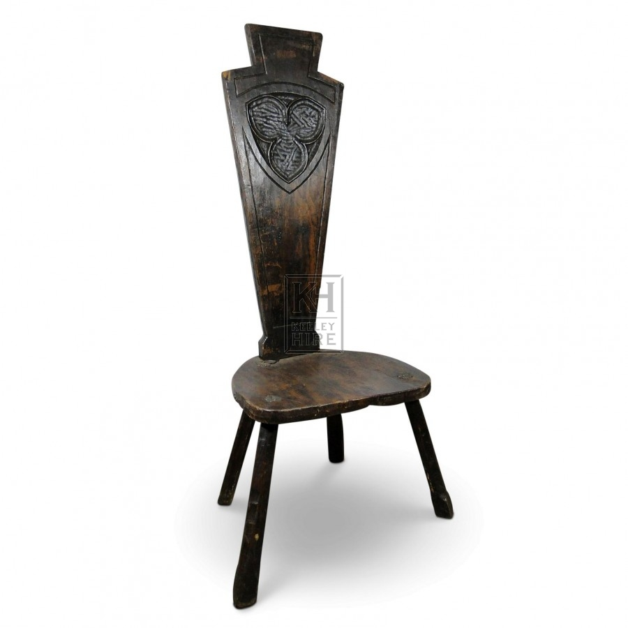 Dark Carved High Back Oak Chair