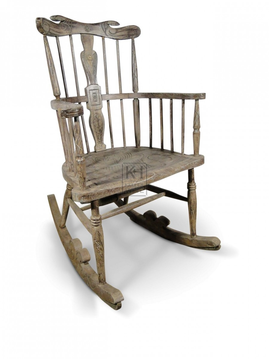 Grey Carved Rocking Chair