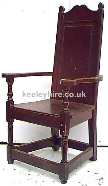 Shaped Top  Wood Arm Chair
