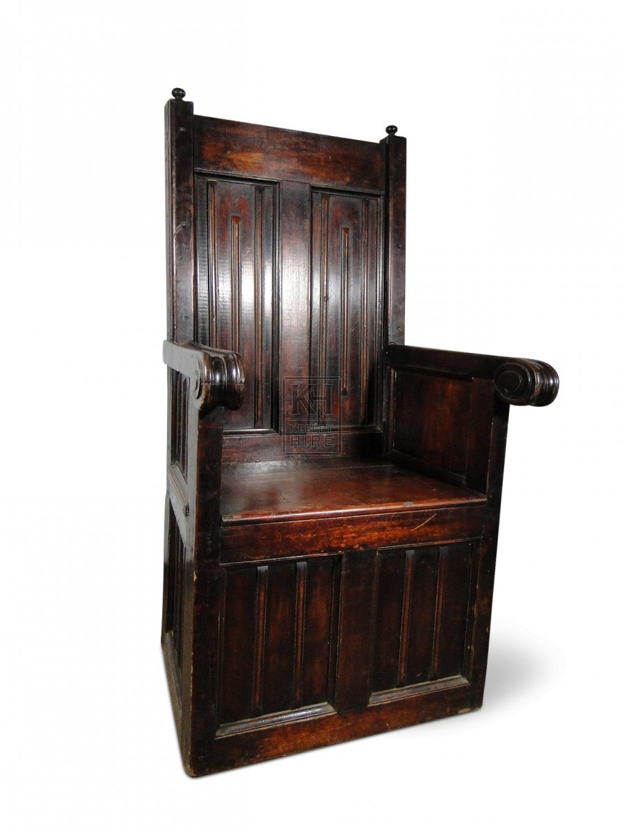 Wooden Throne with panelled base