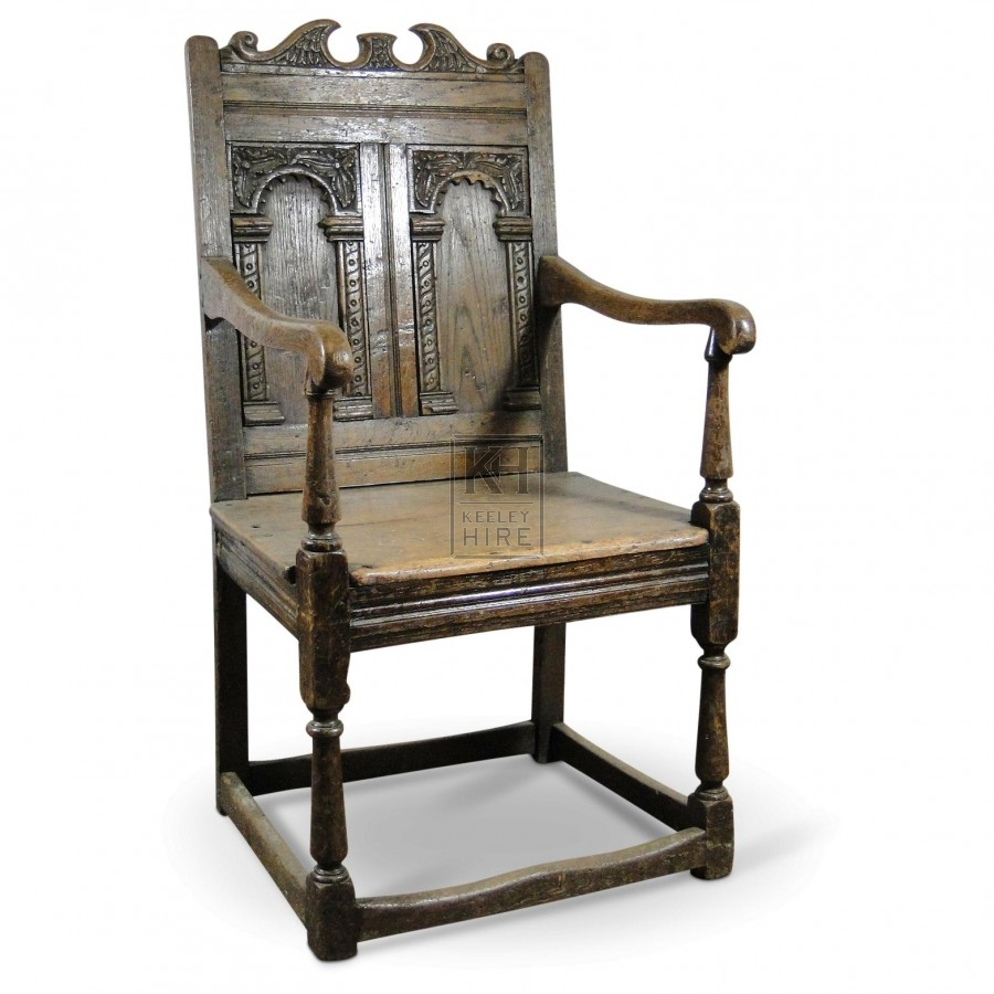 Square Backed Carved Chair
