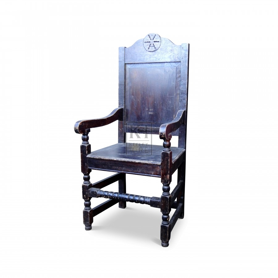 Dark wood chair with arms
