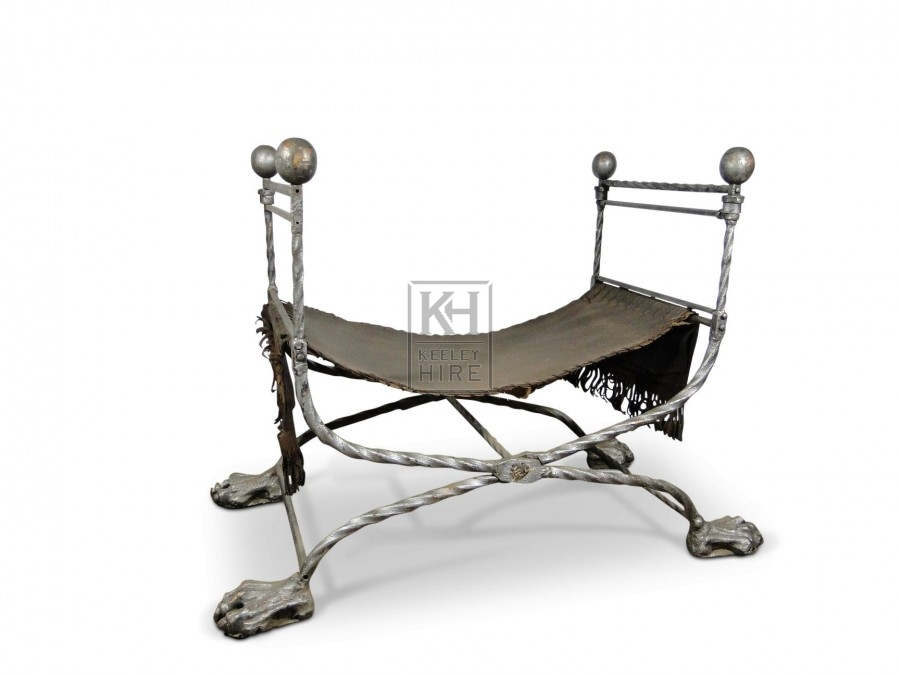 Canvas Chair with Ornate Iron Frame