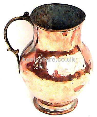 Large bulbous copper & brass jug