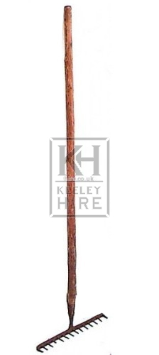 Wood rake with iron head