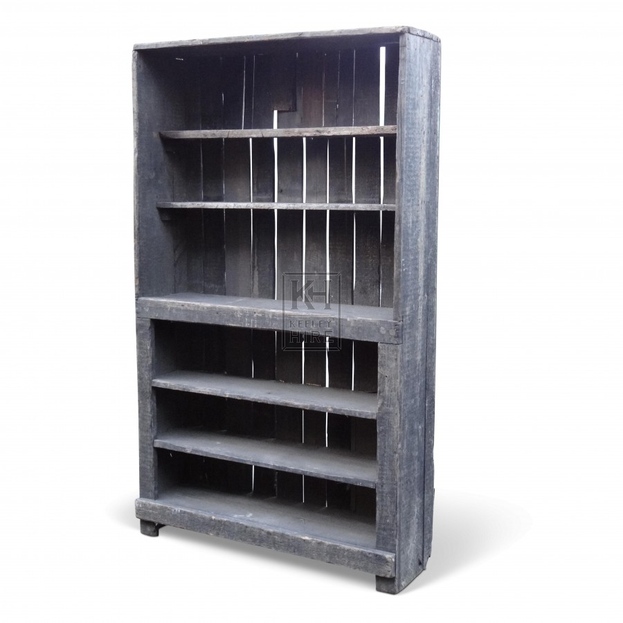Floorstanding Rough Grey Wood Shelves