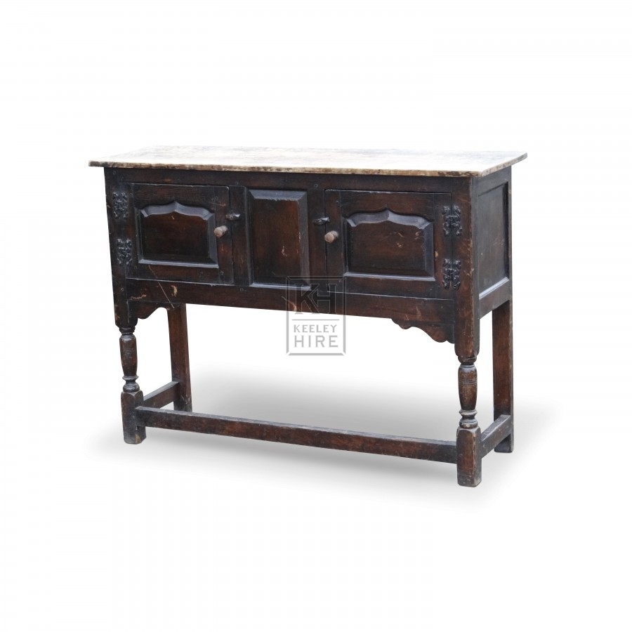 Dark Low Rectangle Carved Cupboard
