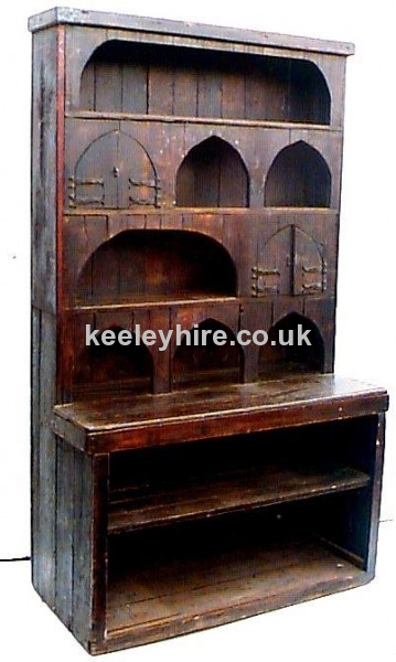 Wooden Dresser with Arched Decorations