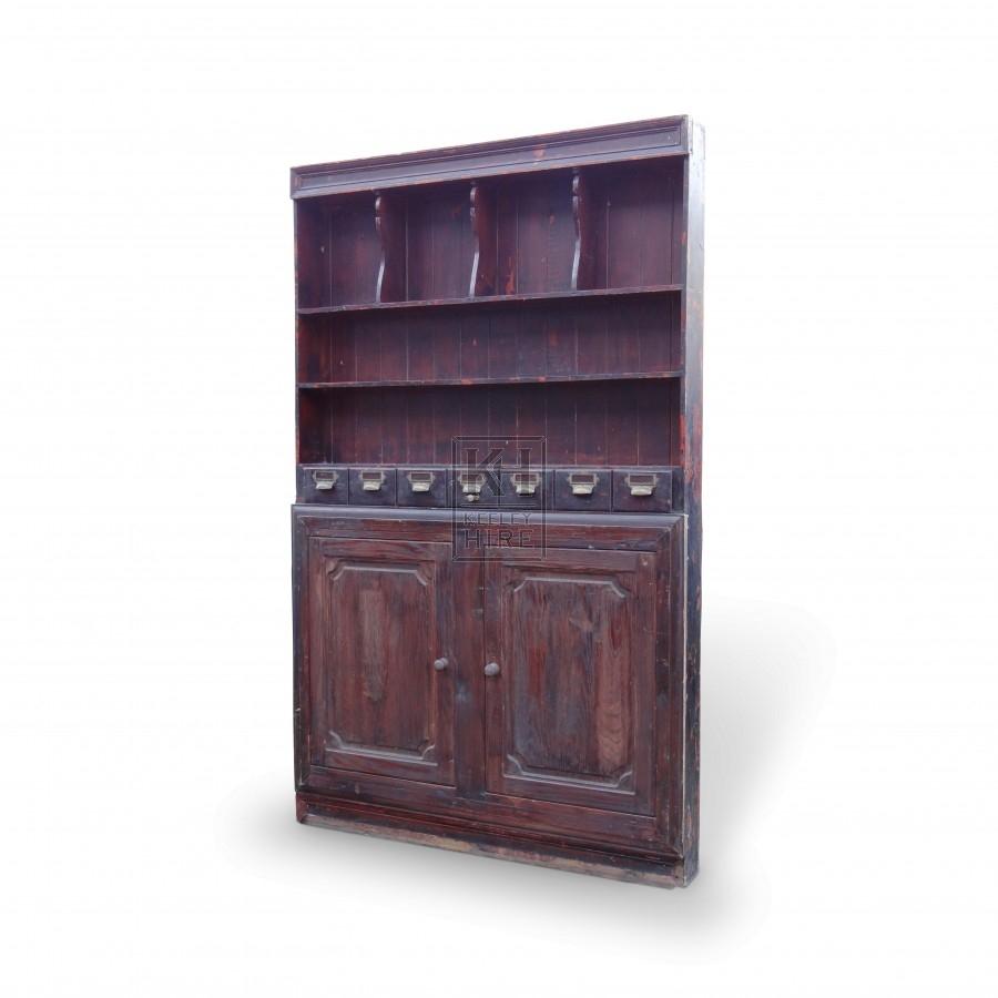 Wooden Dresser Shelf Unit with Cupboards