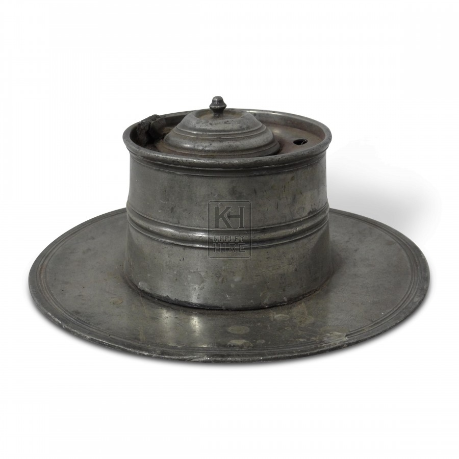Round Pewter Inkwell