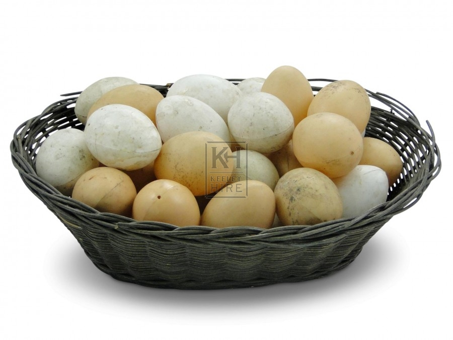Eggs in small round basket