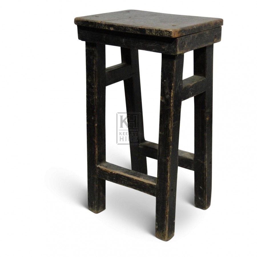 Stools prop hire tall black wooden stool keeley