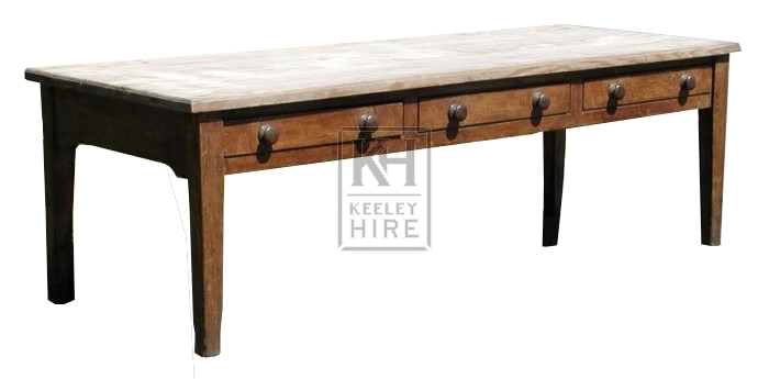 Tables prop hire large pine kitchen table with drawers for Large kitchen table