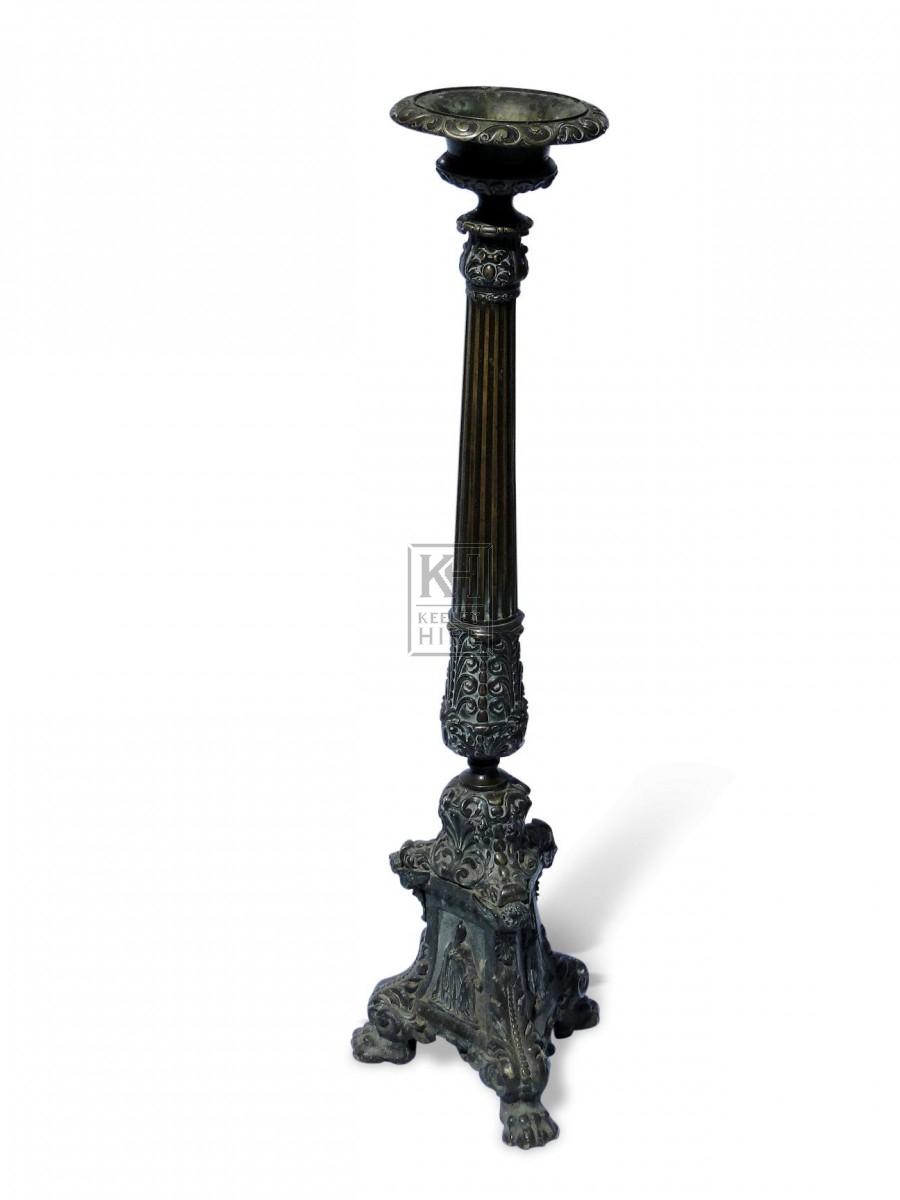 Large Floorstanding Brass Candleholders