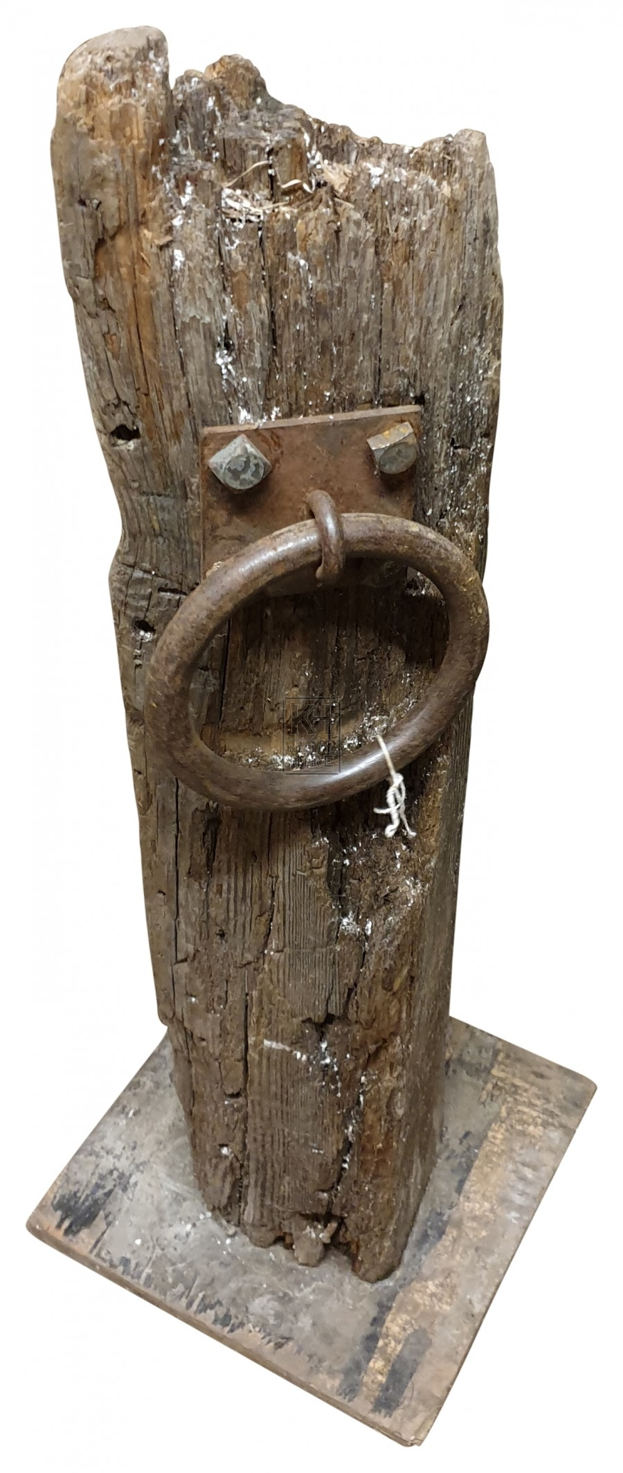 Wood Dock post with Iron Ring