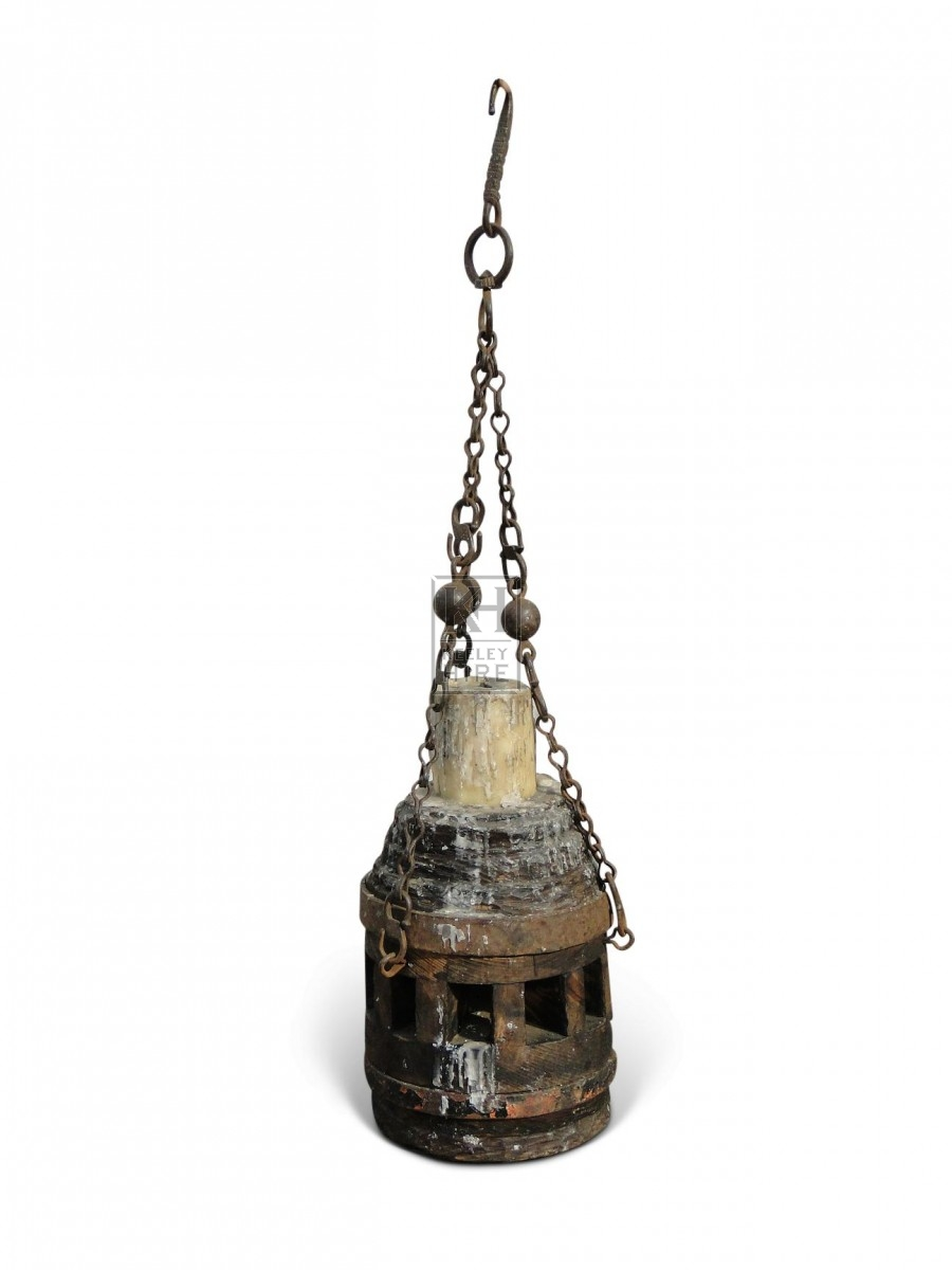 Hanging Wood Candleholder #3