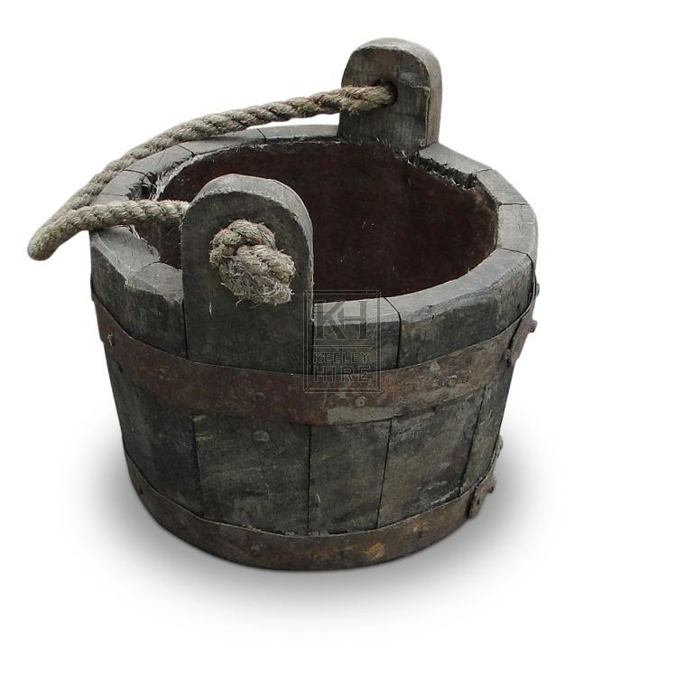 Wood Bucket with Metal Banding