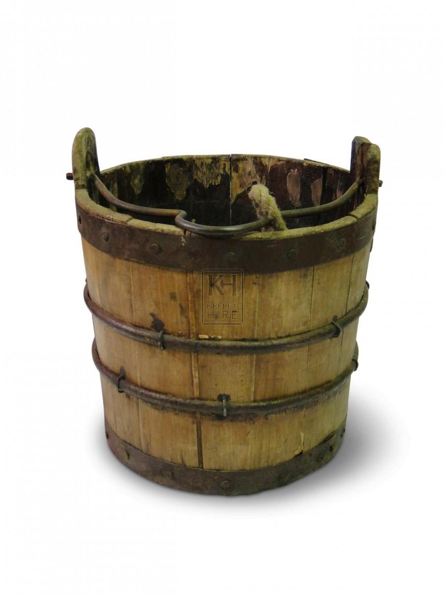Wood Bucket - Iron Hoops