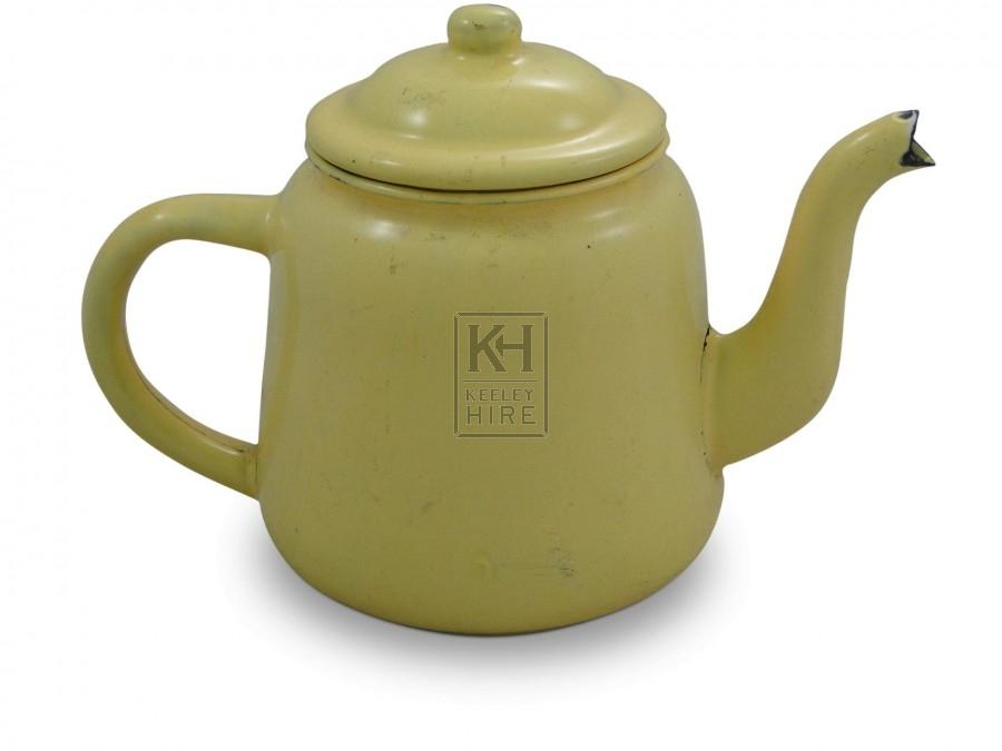 Cream Enamel Teapot