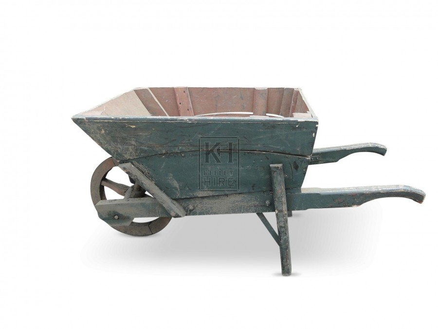 Green Wooden Wheelbarrow