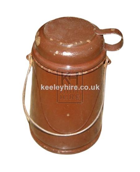 brown enamel billy can