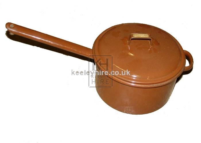 Brown enamel saucepan