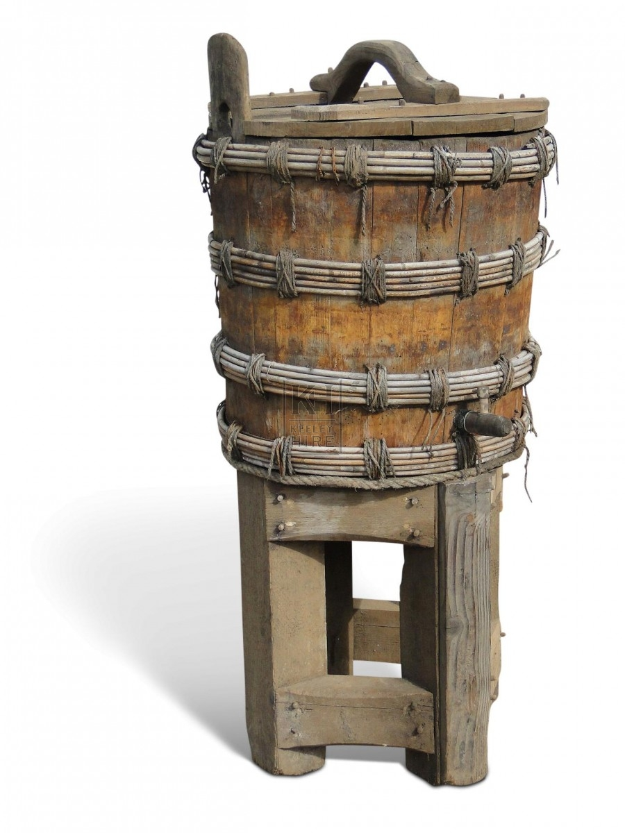 Early Wooden Barrel on Stand